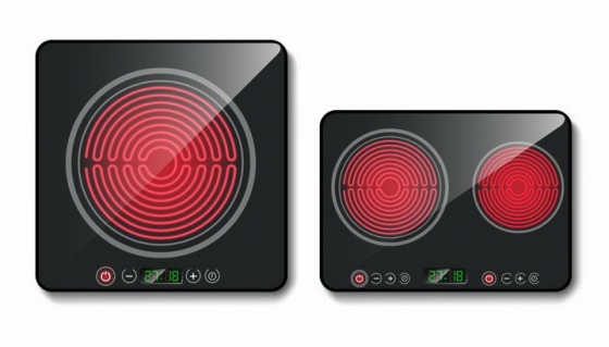 两款玻璃陶瓷面板的黑色电磁炉厨房家用电器png图片免抠矢量素材