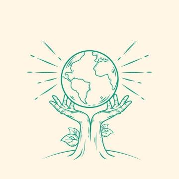 从地里生长出来的双手托住地球象征了环境保护保卫我们的地球图片免抠矢量素材