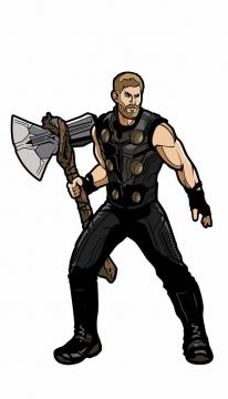 漫画风格拿着暴风战斧的雷神托尔png免抠图片素材