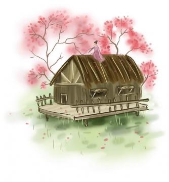 中国风彩色水墨画风格春天坐在草屋顶的少女樱花荷塘风景图片免抠素材