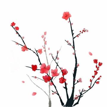 水墨画风格黑色枝头上的梅花花朵png图片免抠素材