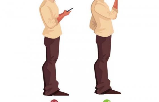 漫画风格站着玩手机的正确和错误姿势图片免抠素材