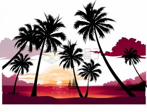 夕阳西下的大海和海岸的椰子树剪影png图片素材