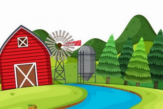 春天夏天流淌的河水青草地农舍大风车和远处的森林乡村风景插画png图片免抠矢量素材