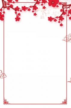 梅花装饰的中国风红色边框png图片免抠素材