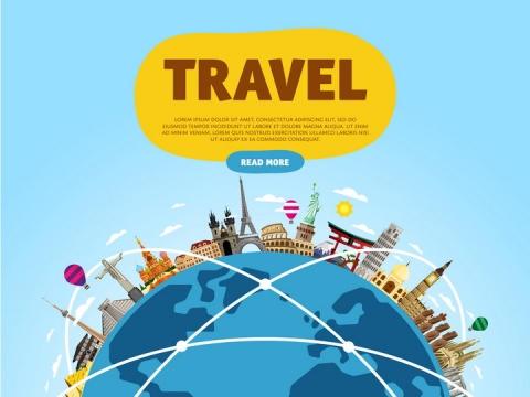 扁平地球上的世界各地的知名建筑景点旅游图片免抠矢量素材