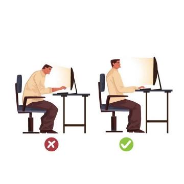 漫画风格用电脑的正确和错误坐姿图片免抠素材