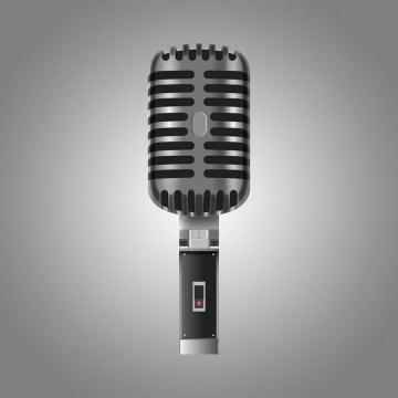 一款逼真的深灰色金属色话筒专业麦克风录音设备图片免抠素材