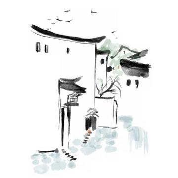 水墨画风格中国传统建筑简约小镇乡村png免抠图片