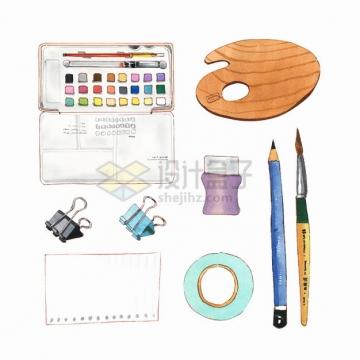 画笔调色板长尾夹票夹铅笔等学习用品水彩插画png图片素材