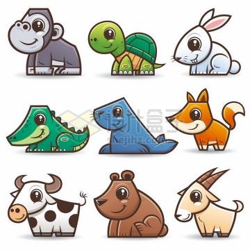 猩猩乌龟兔子鳄鱼海豹狐狸奶牛小熊山羊等可爱卡通动物png图片免抠素材