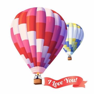 两款彩色条纹热气球带着飘带图片png免抠素材