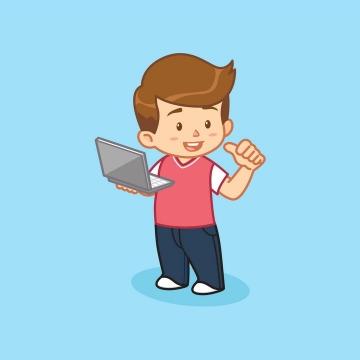 抱着电脑的卡通小男孩
