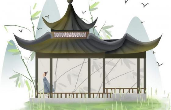 中国风彩色水墨画风格春天站立在亭子中的古装男子风景图片免抠素材