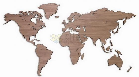 木头木制世界地图png图片素材