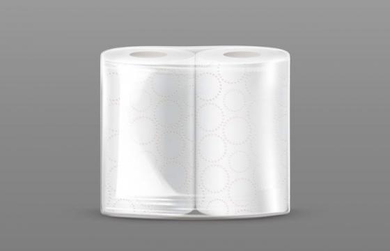 两卷未开封的卫生卷纸图片免抠素材