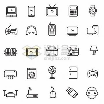 电脑手机电视机计算器洗衣机等电器线条图标531916png图片素材