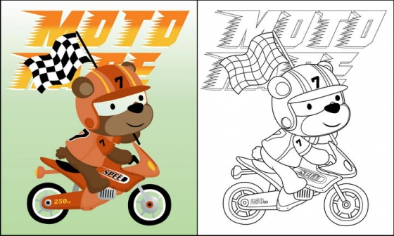 骑摩托车的卡通狗狗简笔画图片免抠素材
