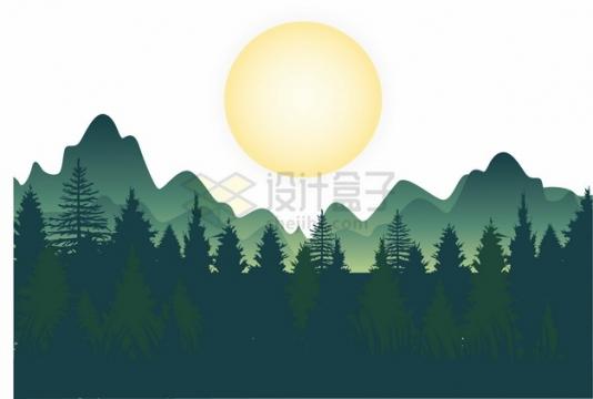 深绿色的森林和山峰风景剪影png图片素材