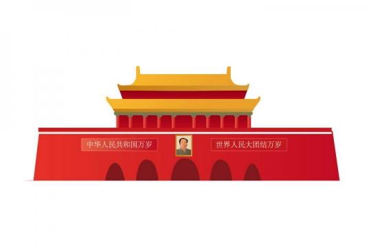 简约风格天安门城楼国庆节主题png免抠图片