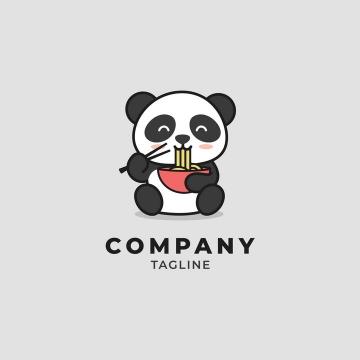 正在吃面的卡通大熊猫logo设计方案图片免抠矢量素材