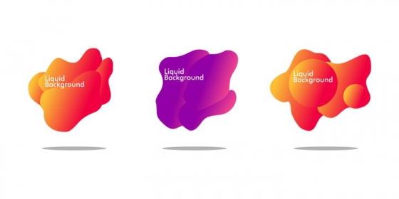 三款红色紫色不规则形状标题背景框图片免抠素材