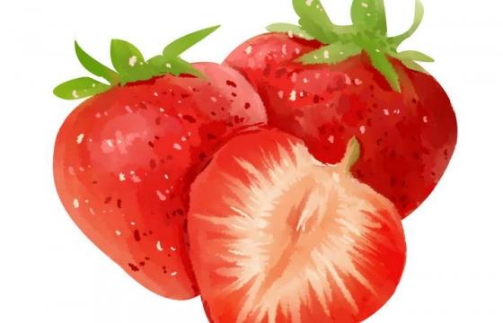手绘水彩画风格三颗草莓水果图片免抠素材