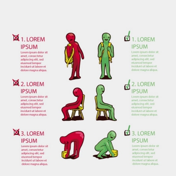 卡通小人双肩背包正确和错误背法以及坐姿搬运蹲姿图片免抠素材