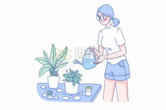 卡通女孩拿着浇水壶给盆栽浇水彩绘插画png图片素材