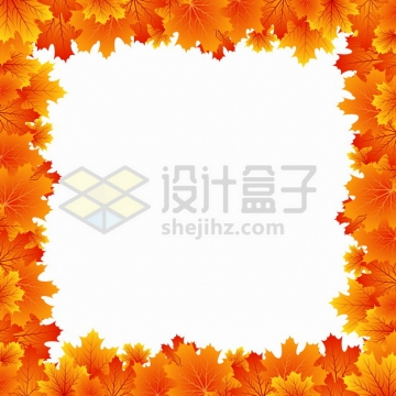 金秋时节秋天火红色的枫叶边框装饰png图片素材