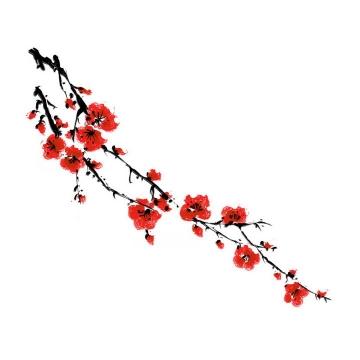 水彩画风格枝头的红色桃花png图片免抠素材