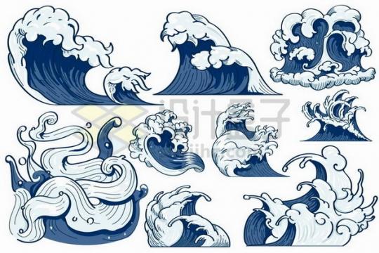 蓝色手绘风格海浪波浪图案png图片免抠矢量素材