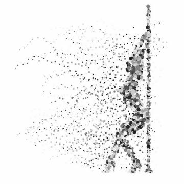 灰色圆点组成的钢管舞女郎png图片免抠矢量素材