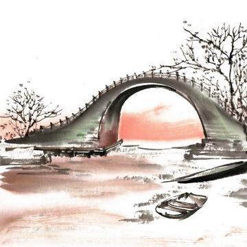 彩色水墨画风格中国传统建筑拱桥小河风景图png免抠图片