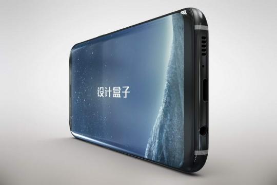 横放的黑色三星手机屏幕内容展示样机图片设计素材