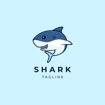 可爱的卡通鲨鱼logo设计方案图片免抠矢量素材