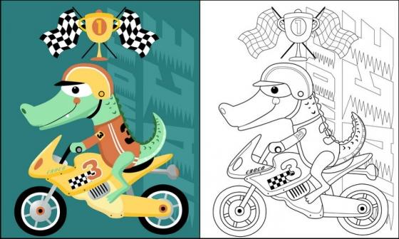 骑摩托车的卡通鳄鱼简笔画图片免抠素材