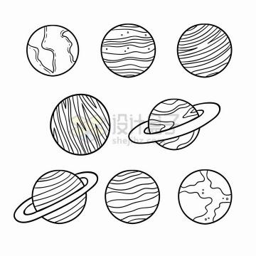 太阳系八大行星简笔画儿童插画png图片免抠矢量素材