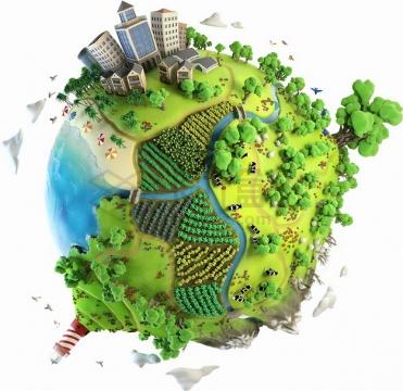 鱼眼效果的3D立体地球和上面的森林城市等png图片素材
