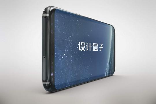 横放特写的黑色三星手机屏幕内容展示样机图片素材