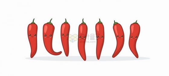 卡通可爱的红辣椒蔬菜表情包png图片免抠矢量素材