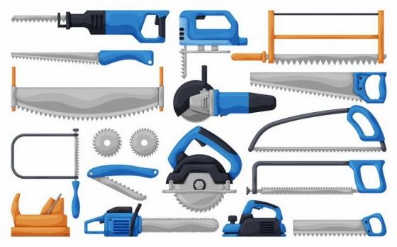 各种蓝色的卡通电锯木材切割工具png图片免抠矢量素材