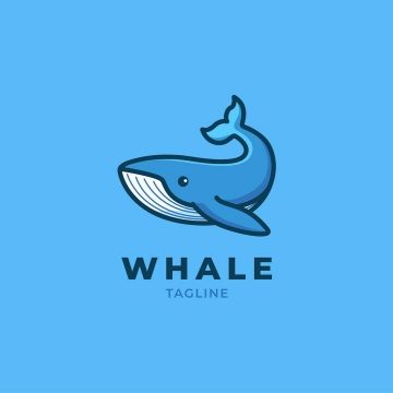 可爱的卡通鲸鱼logo设计方案图片免抠矢量素材