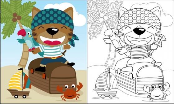 坐在宝箱上卡通小猫鹦鹉和螃蟹简笔画图片免抠素材