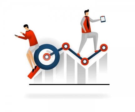 SEO数据增长曲线商务配图图片免抠素材