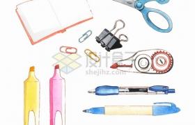 打开的书本剪刀曲别针长尾夹票夹圆珠笔铅笔等学习用品水彩插画png图片素材