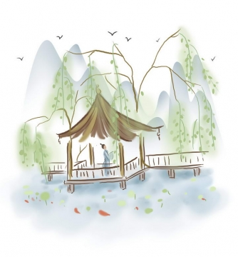 中国风彩色水墨画风格春天柳枝在亭子中赏荷花的古装男子图片免抠素材
