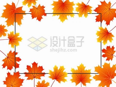 金秋时节秋天火红色的枫叶黑色线条边框装饰png图片素材