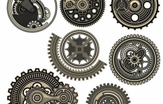 7款蒸汽朋克风格的齿轮和传动机械装置png图片免抠矢量素材