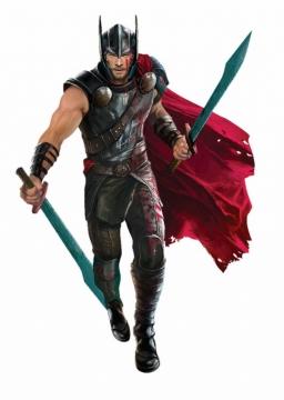 手持双手剑准备战斗的雷神托尔png免抠图片素材